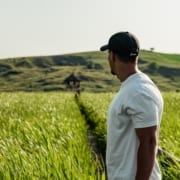 Sustainable agriculture man in green field
